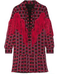 Anna Sui - Fringed Printed Cotton And Silk-blend Mini Dress - Lyst