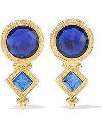 Ben-Amun - Woman 24-karat Gold-plated Crystal Earrings Royal Blue - Lyst
