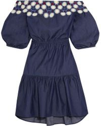 Peter Pilotto - Pallas Off-the-shoulder Embroidered Cotton Dress - Lyst