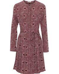 Nina Ricci - Pleated Printed Silk Dress - Lyst