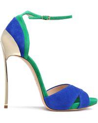 Casadei - Two-tone Suede Sandals Cobalt Blue - Lyst