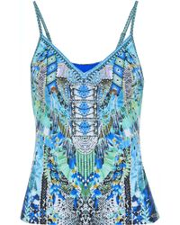 Camilla - Leave Me Wild Crystal-embellished Printed Tank Turquoise - Lyst