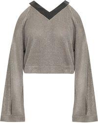 Brunello Cucinelli - Woman Cold-shoulder Embellished Linen And Silk-blend Jumper Grey - Lyst