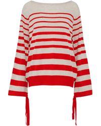 Autumn Cashmere - Tie-detailed Striped Cashmere Sweater - Lyst
