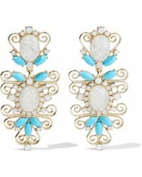 Kenneth Jay Lane - Gold-tone, Crystal And Stone Earrings - Lyst