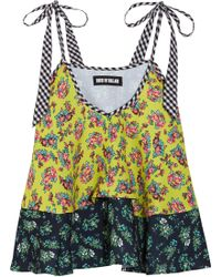 House of Holland   Tiered Printed Crepe Top   Lyst