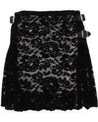 Christopher Kane - Pleated Flocked Lace Mini Skirt - Lyst