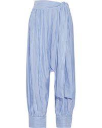 JW Anderson - Pleated Striped Silk-satin Twill Tapered Pants - Lyst