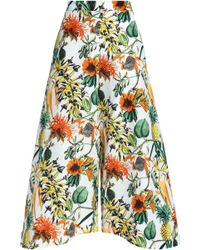 Nicholas - Printed Linen And Silk-blend Culottes - Lyst