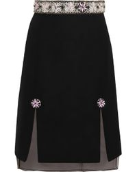 Holly Fulton | Embellished Wool-blend Bouclé And Silk-organza Skirt | Lyst