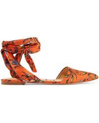 Sam Edelman - Brandie Printed Satin Point-toe Flats - Lyst