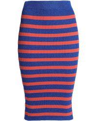 Baum und Pferdgarten - Metallic Striped Ribbed-knit Midi Skirt Bright Blue - Lyst