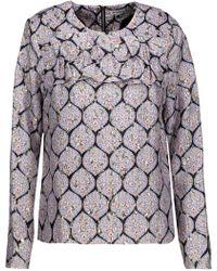 SUNO - Ruffled Printed Silk-blend Twill And Metallic Cloqué Blouse - Lyst