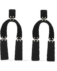 Proenza Schouler Hammered Coated Metal Earrings Black