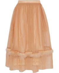 Simone Rocha - Feather-trimmed Tulle Midi Skirt - Lyst