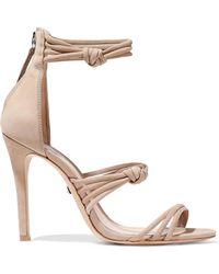 05f0fd845e91d2 Lyst - Schutz Woman Naama Cutout Nubuck Sandals Beige in Natural