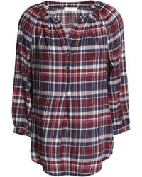 Joie - Checked Cotton-flannel Blouse - Lyst