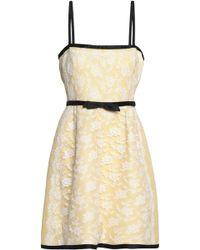 Valentino - Bow-embellished Chantilly Lace Mini Dress Pastel Yellow - Lyst