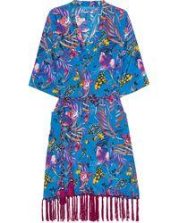 Matthew Williamson - Tasselled Printed Silk Crepe De Chine Kimono - Lyst