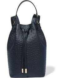 Iris & Ink | - Ostrich-effect Leather Backpack - Navy | Lyst