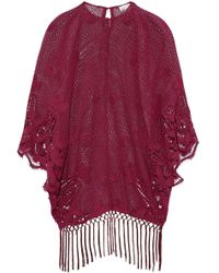 Miguelina - Fringe-trimmed Embroidered Open-knit And Guipure Lace Coverup - Lyst