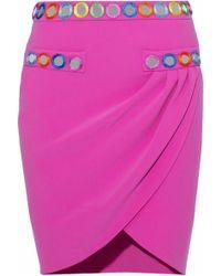 Moschino - Wrap-effect Appliquéd Cady Mini Skirt - Lyst