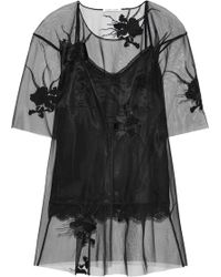 Helmut Lang - Embroidered Tulle Top - Lyst