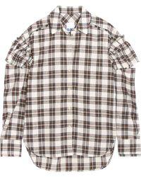 Steve J & Yoni P - Ruffled Checked Flannel Shirt - Lyst