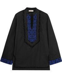 Tory Burch - Embellished Embroidered Cotton-poplin Blouse - Lyst