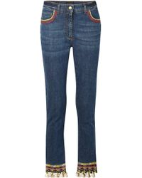 Etro - Cropped Embellished High-rise Skinny Jeans - Lyst