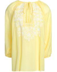 Melissa Odabash - Embroidered Gauze Coverup Pastel Yellow - Lyst