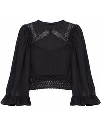 McQ - Broderie Anglais-trimmed Ruffled Gauze Blouse - Lyst