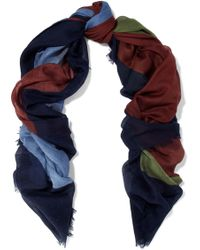 Valentino - Color-block Cashmere And Silk-blend Gauze Scarf - Lyst