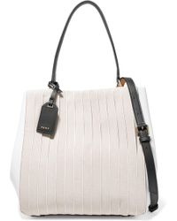 DKNY - Striped Cotton Canvas And Leather Shoulder Bag - Lyst
