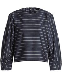 Tibi - Striped Cotton-poplin Blouse - Lyst