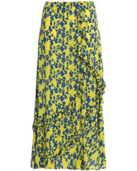 Preen Line - Hattie Ruffle-trimmed Floral-print Crepe Midi Skirt - Lyst