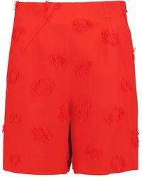 Roland Mouret - - Kelston Frayed Crepe Mini Shorts - Red - Lyst