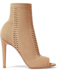 Gianvito Rossi - Woman Vires 105 Open-knit Ankle Boots Sand - Lyst
