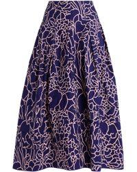 Oscar de la Renta - Printed Cotton-blend Midi Skirt - Lyst