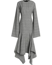 Solace London - Checked Wool Midi Dress - Lyst