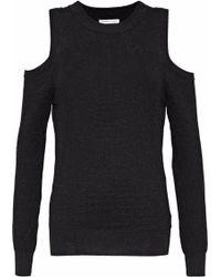 Rebecca Minkoff - Page Cold-shoulder Metallic Waffle-knit Jumper - Lyst