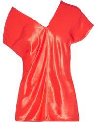 Helmut Lang - Asymmetric Satin Top Bright Orange - Lyst