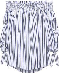 Caroline Constas - Woman Lou Off-the-shoulder Striped Cotton-poplin Blouse Navy - Lyst