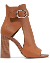 Chloé - Millie Cutout Leather Ankle Boots - Lyst