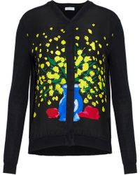 Vionnet - Printed Silk And Cotton Blend-paneled Knitted Cardigan - Lyst