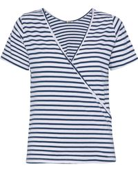Monrow - Wrap-effect Striped Cotton And Modal-blend Jersey T-shirt - Lyst