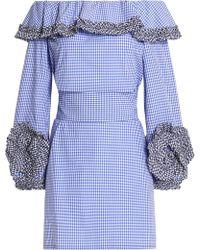 Alexis - Off-the-shoulder Ruffled Gingham Cotton-poplin Mini Dress - Lyst