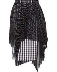 Facetasm - Layered Plissé Organza And Gingham Poplin Skirt - Lyst