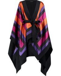Balmain - Crepe-trimmed Draped Striped Satin Jacket - Lyst