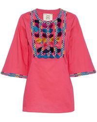 Figue - Nilu Tasseled Embroidered Cotton Tunic - Lyst